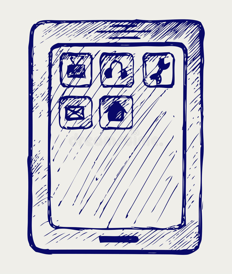 Tablette de Digitals illustration stock