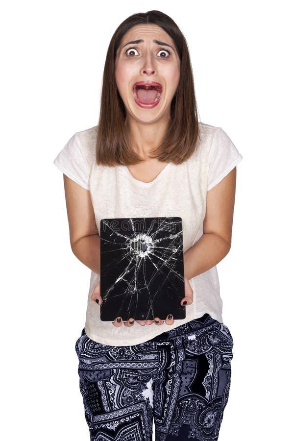 Tablette der jungen Frau lizenzfreies stockbild
