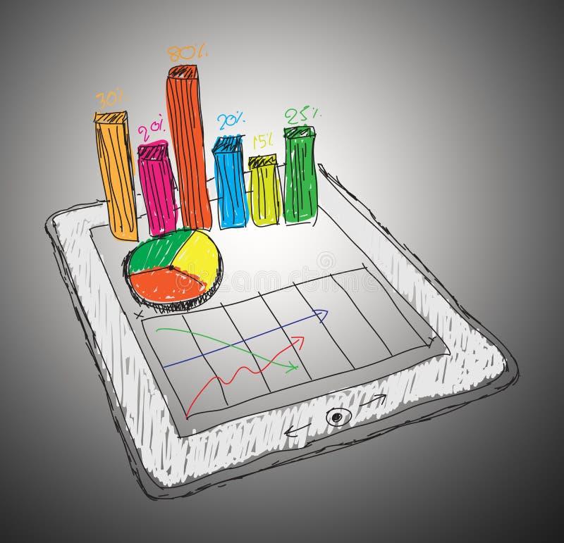 Tablette, die eine Kalkulationstabelle mit Diagrammen zeigt lizenzfreie abbildung
