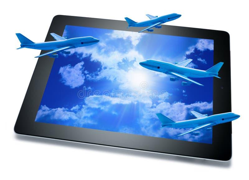 Tablette en ligne de course de réservation image stock