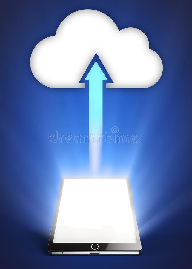 Tablette et nuage illustration stock