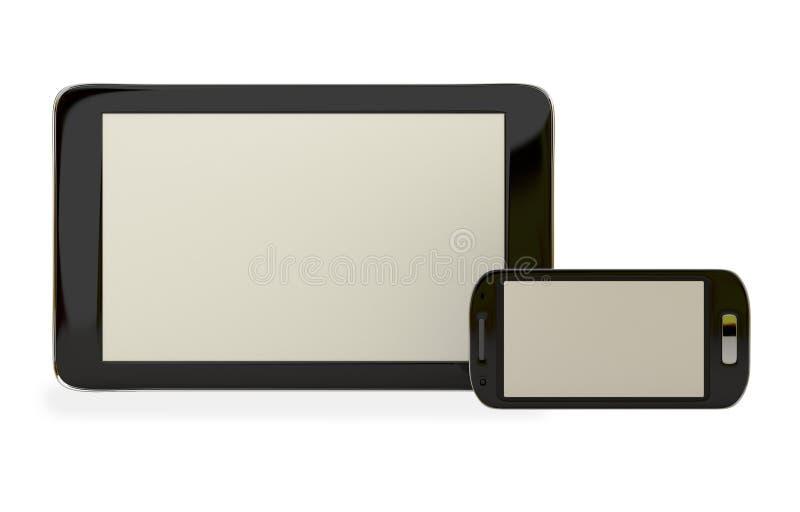 Tablette et téléphone portable sur le fond blanc illustration libre de droits