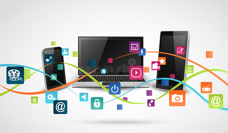 Tablette et téléphones portables avec l'icône colorée d'application illustration stock