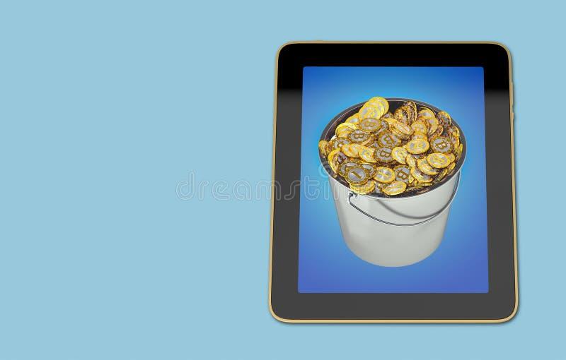Tablette générique montrant un seau de Bitcoins illustration libre de droits