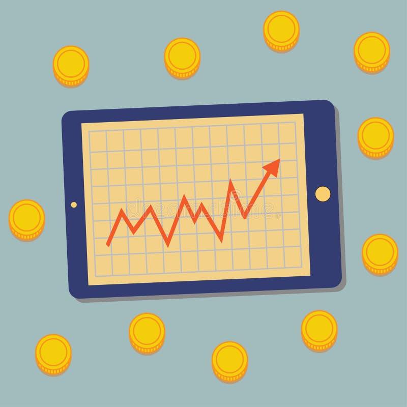 Tablette, graphique, argent image libre de droits