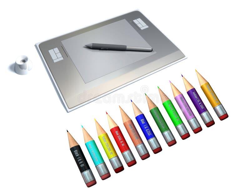 Tablette graphique avec le crayon lecteur et le crayon coloré illustration stock