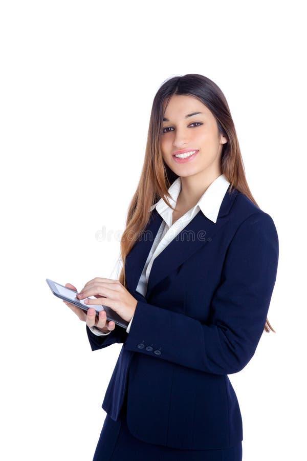 Tablette indienne asiatique d'ebook du relevé de femme d'affaires image stock