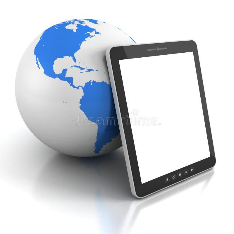 Tablette PC mit blauer Erdkugelkugel lizenzfreie abbildung