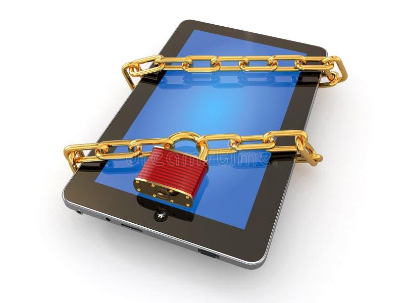 Tablette-PC-Sicherheit. Kette mit Verriegelung auf Computer. lizenzfreie abbildung