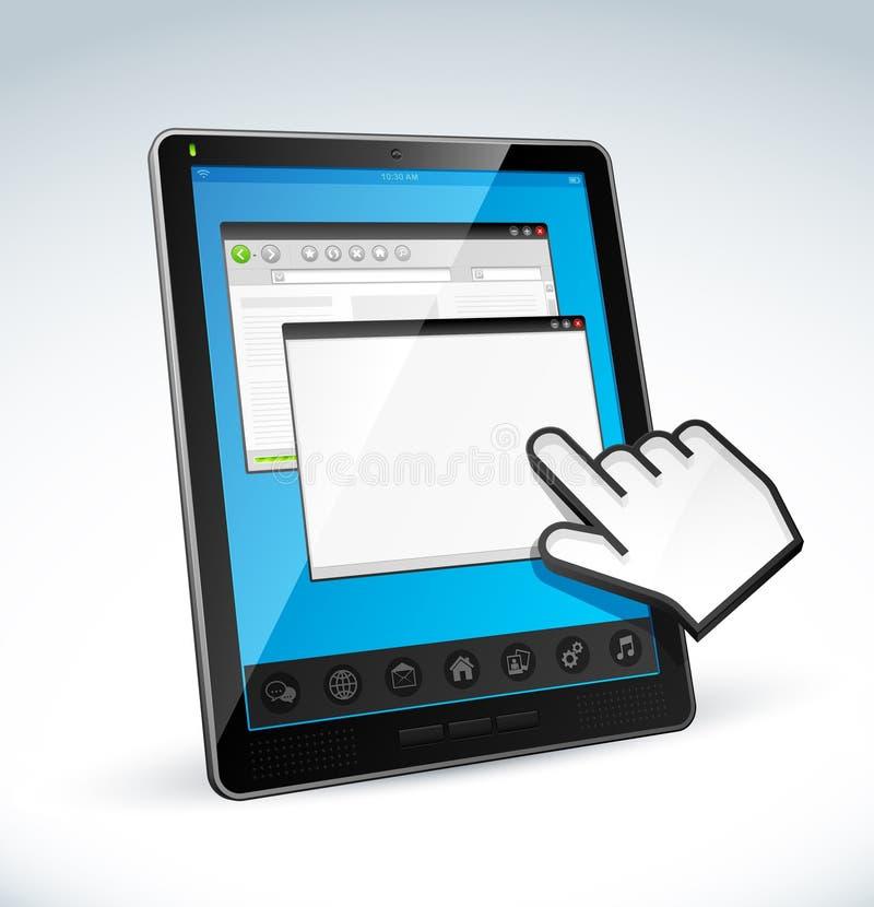 Tablette-PC und -cursor stock abbildung