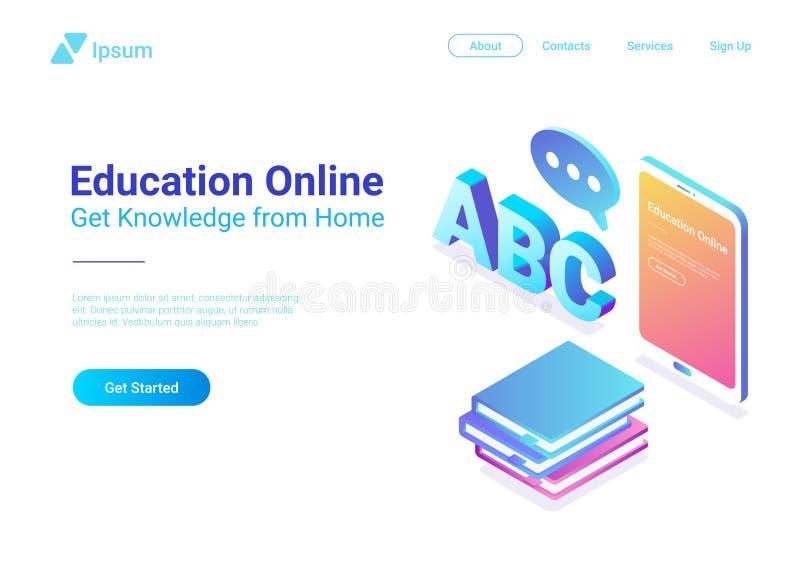 Tablette plate isométrique W de vecteur d'éducation en ligne illustration libre de droits