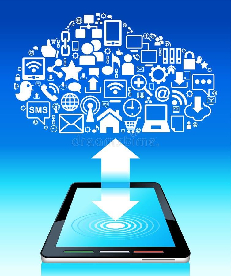 Tablette sociale globale de réseau illustration stock