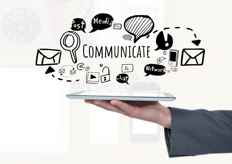 Tablette und Kommunikation halten, simsen Sie mit Zeichnungsgraphiken stock abbildung
