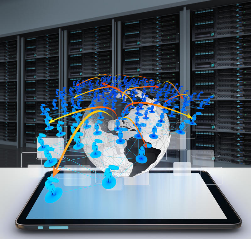 Tablettecomputer und Sozialnetz stockfotos