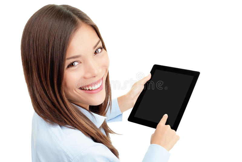Tablettecomputerfrau stockfoto