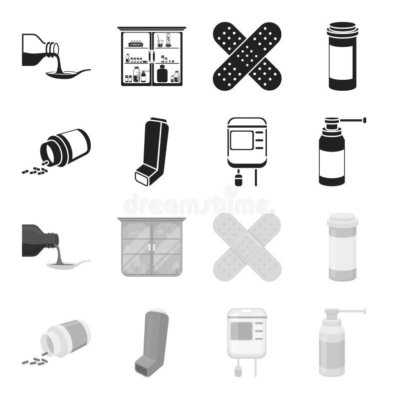 Tabletten, inhaleertoestel, container met bloed, nevel E stock illustratie