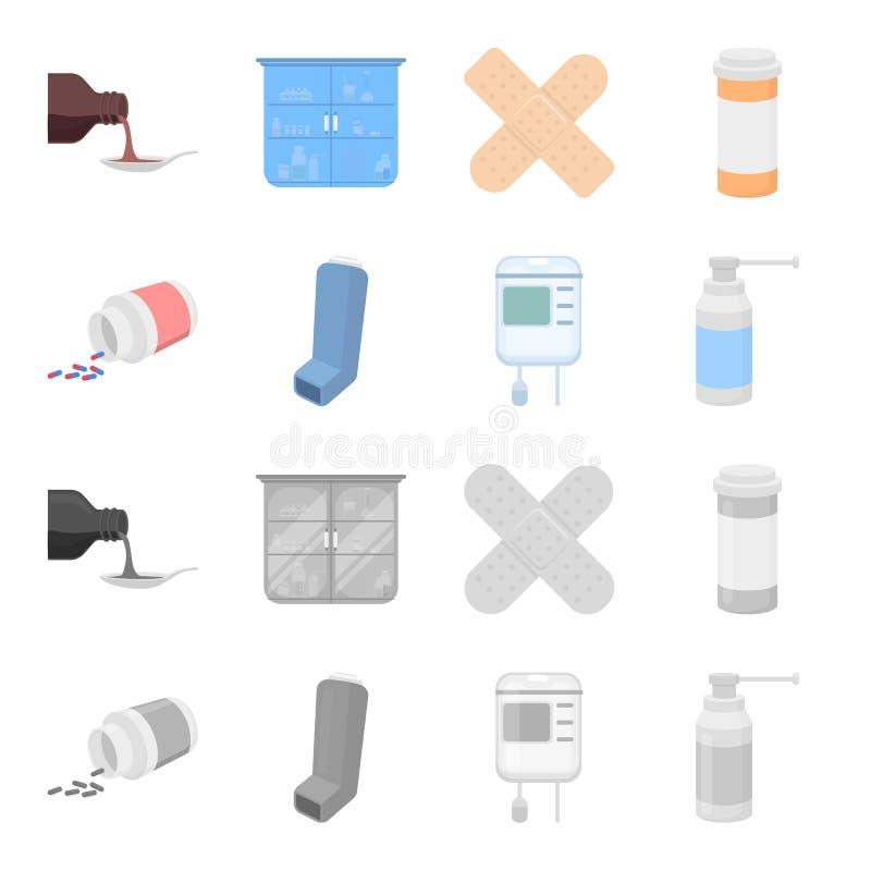 Tabletten, inhaleertoestel, container met bloed, nevel Pictogrammen van de geneeskunde de vastgestelde inzameling in beeldverhaal stock illustratie