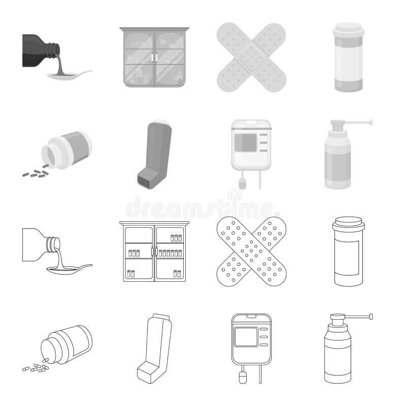 Tabletten, inhaleertoestel, container met bloed, nevel Pictogrammen van de geneeskunde de vastgestelde inzameling in overzicht, z stock illustratie