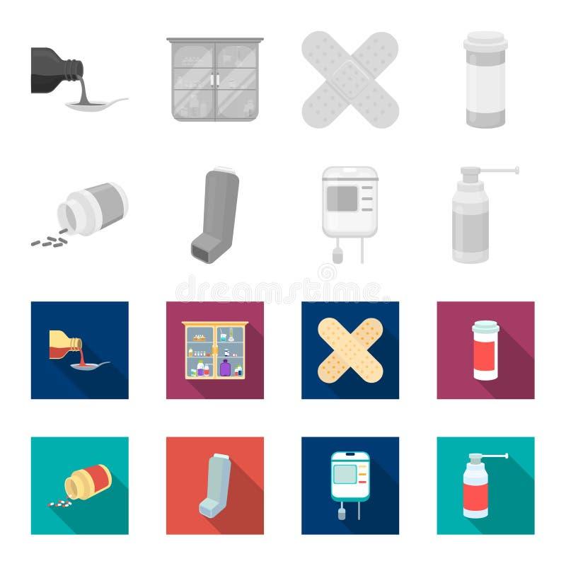 Tabletten, inhaleertoestel, container met bloed, nevel Pictogrammen van de geneeskunde de vastgestelde inzameling in de zwart-wit royalty-vrije illustratie