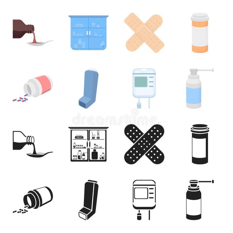 Tabletten, inhaleertoestel, container met bloed, nevel Pictogrammen van de geneeskunde de vastgestelde inzameling in zwarte, vect stock illustratie