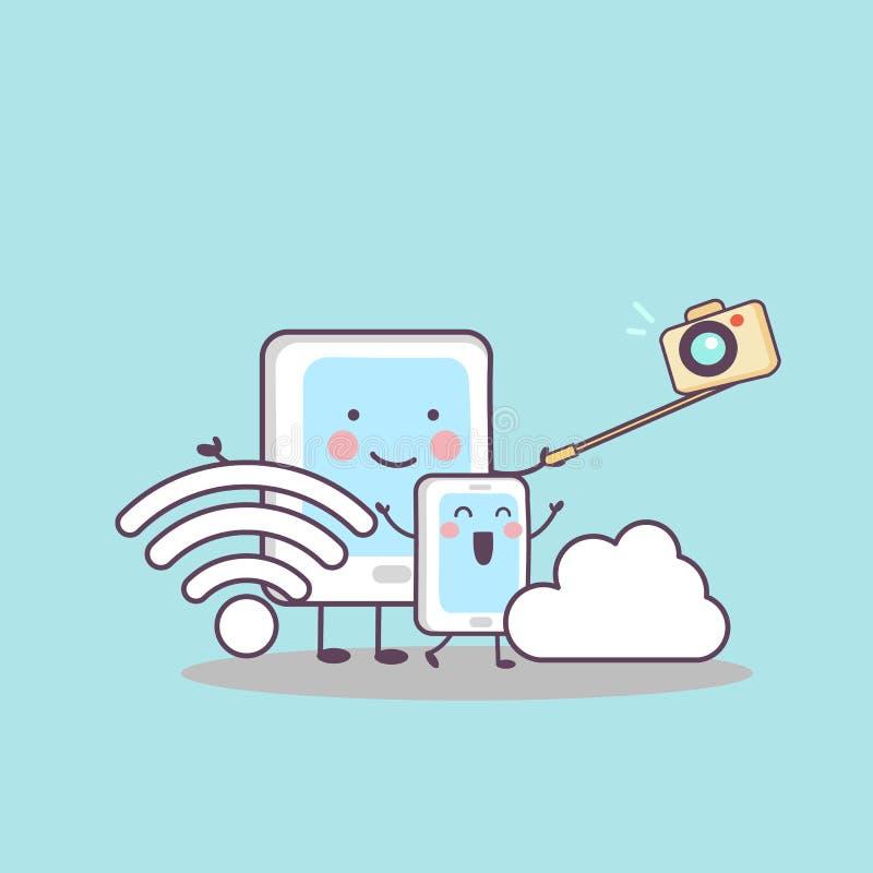 Tabletten-Kamera wifi der Karikatur digitales lizenzfreie abbildung
