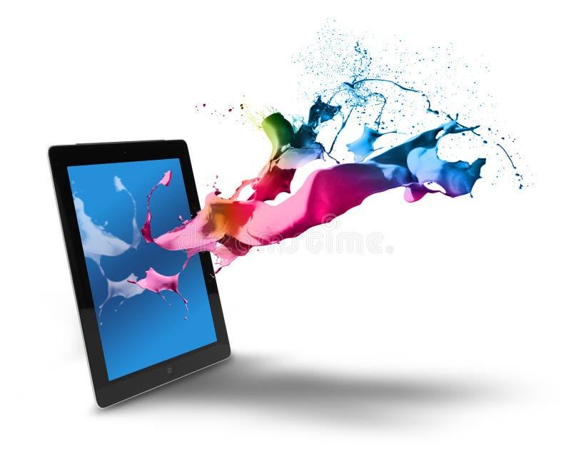 Tablettencomputer-Farbspritzen stockfoto
