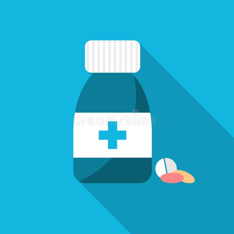 Tablettenfläschchen und Pillen Apothekendesign auf blauem Hintergrund Tablettenfläschchen mit Kreuz Flaches Artapothekendesign mi stock abbildung