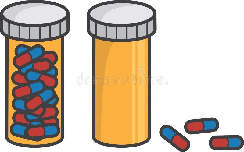 Tablettenfläschchen voll leer lizenzfreie abbildung