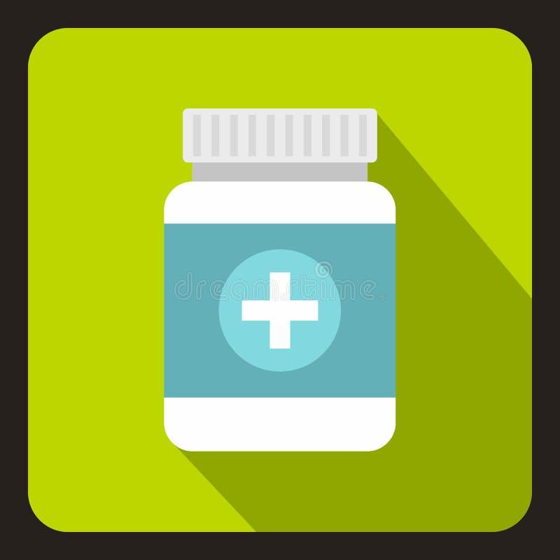 Tablettes dans l'icône en plastique de pot, style plat illustration stock