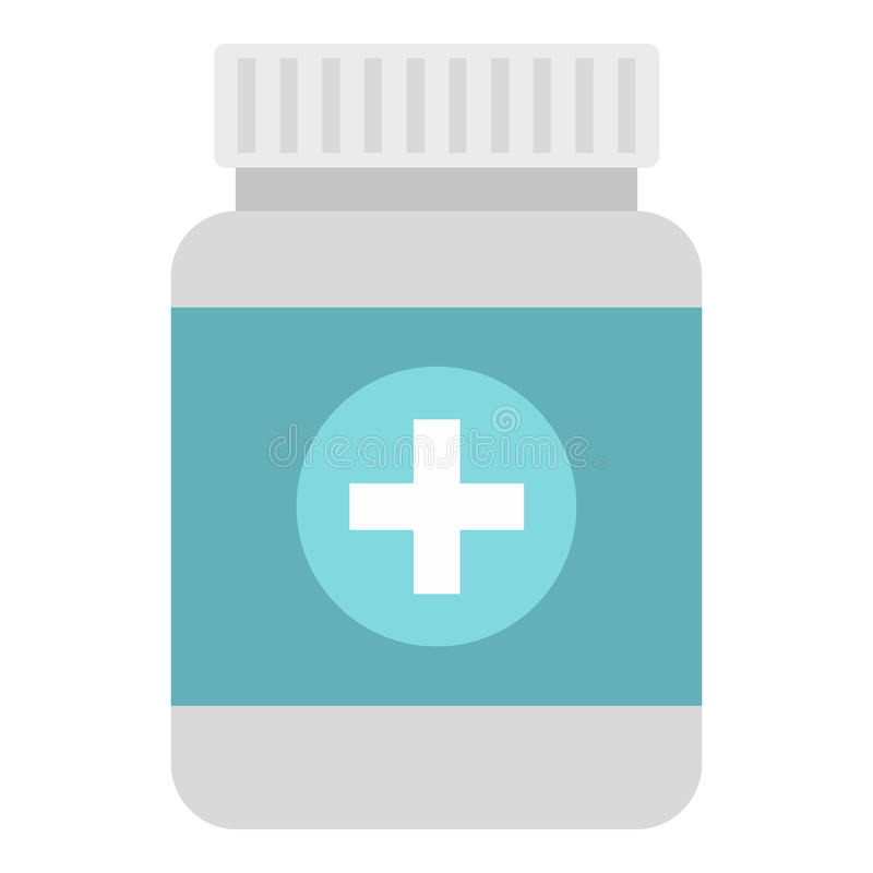 Tablettes dans l'icône en plastique de pot, style plat illustration libre de droits