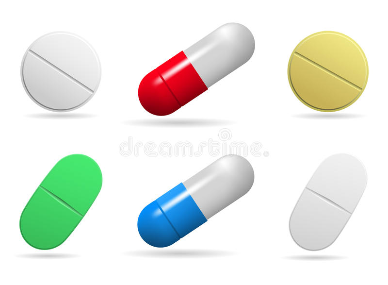 Tablettes médicinales Ensemble d'ovale, en rond et comprimés de capsules de différentes couleurs Objets d'isolement sur le fond b illustration de vecteur