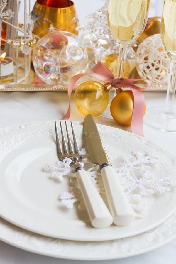 Tableware установленный для рождества стоковое изображение rf
