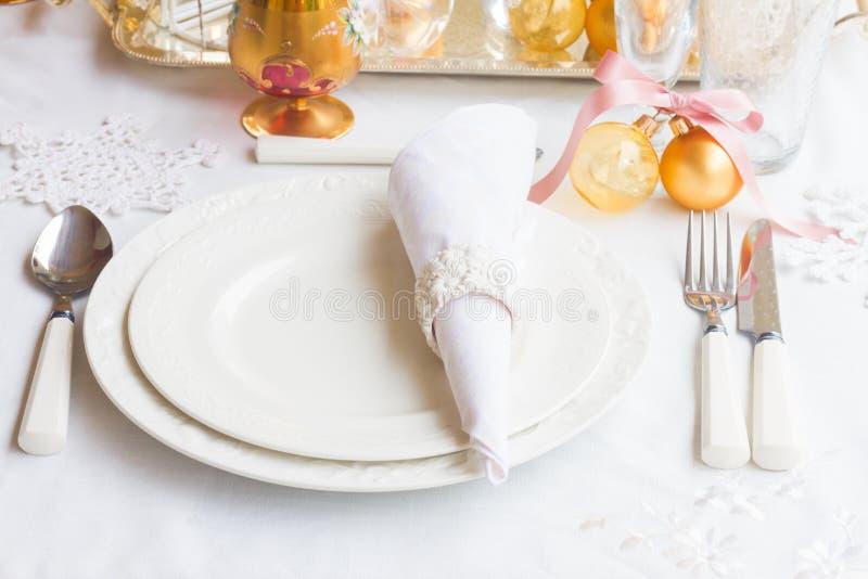 Tableware установленный для рождества стоковая фотография rf