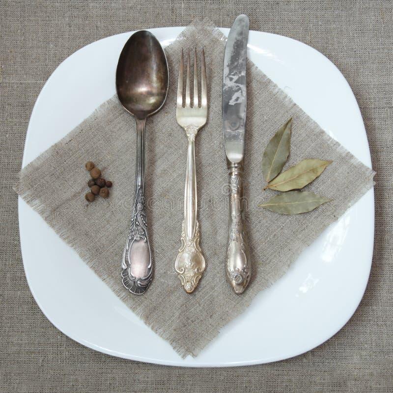 tableware antique серебряный стоковая фотография