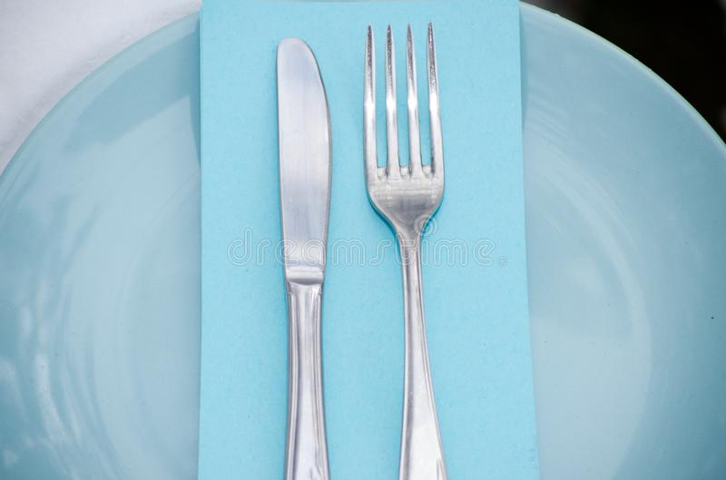 Tableware on the plate stock photography