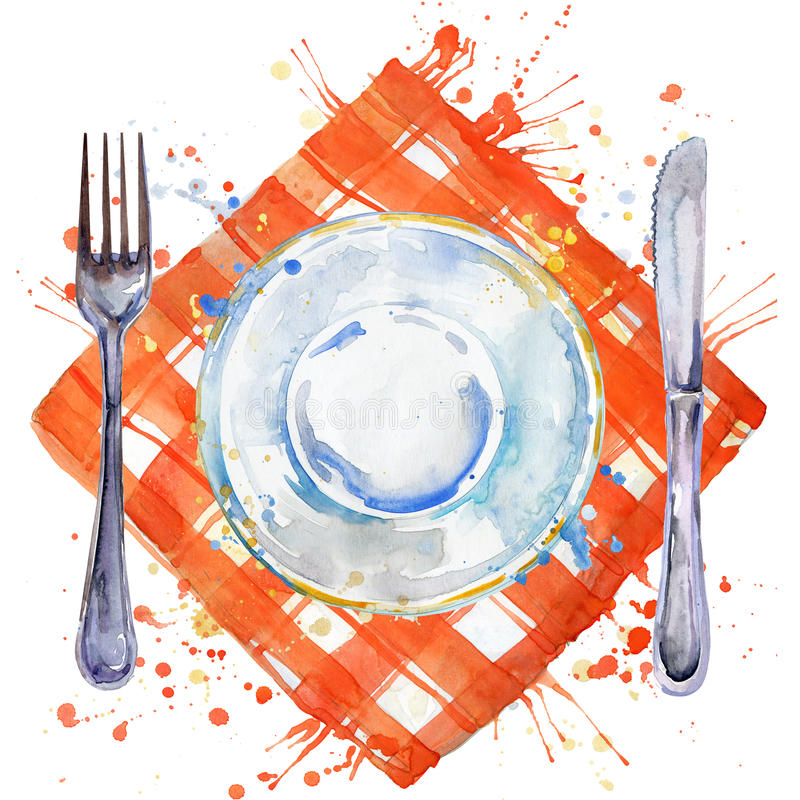 Tableware, cutlery, plates for food, fork, table knife and a cloth napkin. watercolor background illustration. Tableware, cutlery, plates for food, fork, table vector illustration