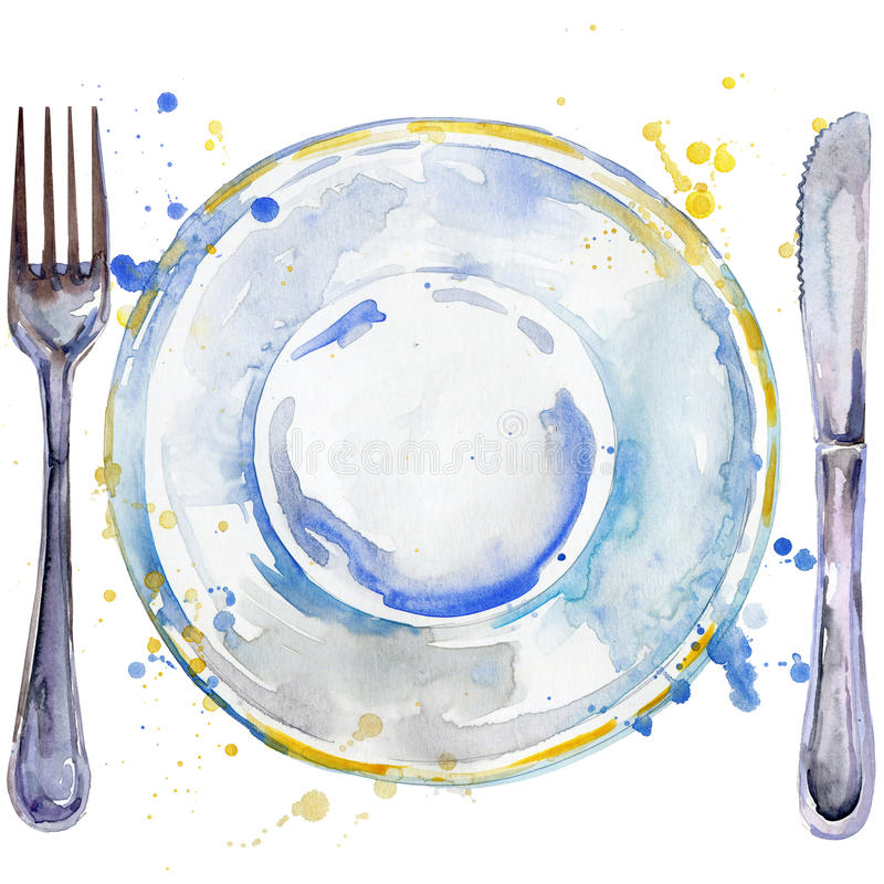 Tableware, cutlery, plates for food, fork, table knife watercolor background illustration. Tableware, cutlery, plates for food, fork, table knife stock illustration