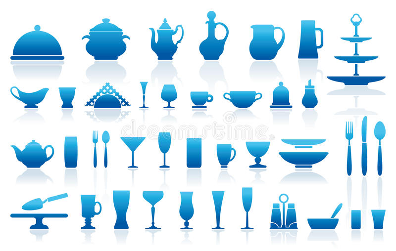 Tableware icons royalty free illustration