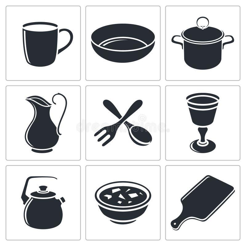 Download Tableware ikony kolekcja ilustracja wektor. Ilustracja złożonej z żywienie - 42525578