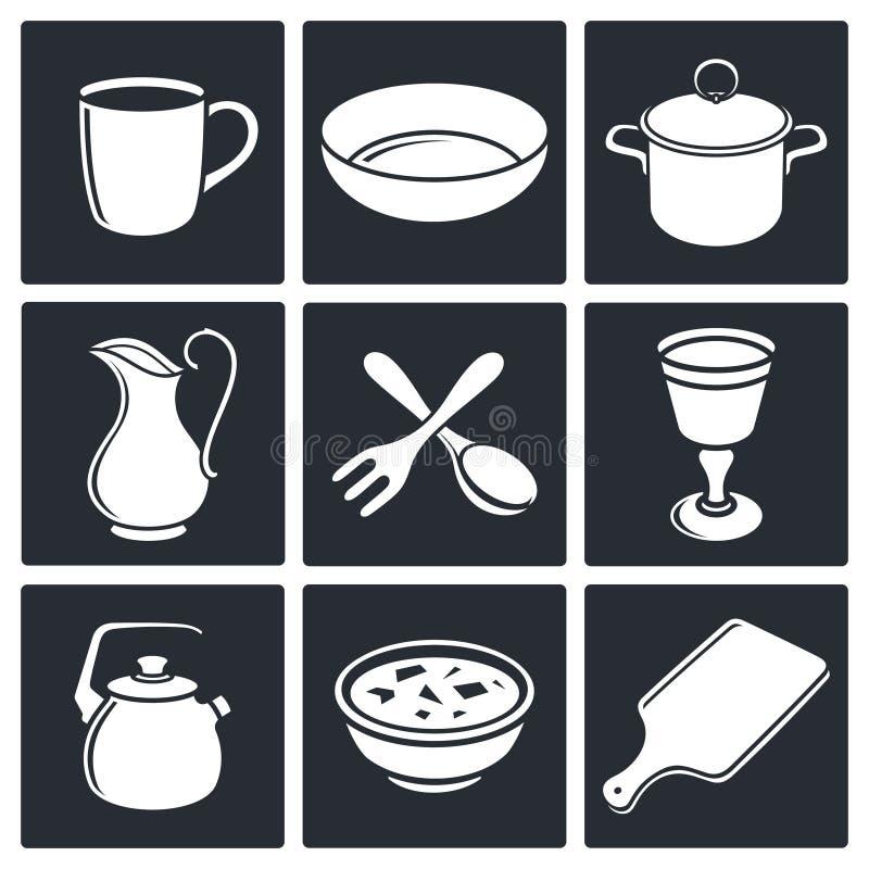 Download Tableware ikony ustawiać ilustracji. Ilustracja złożonej z łasowanie - 42525568