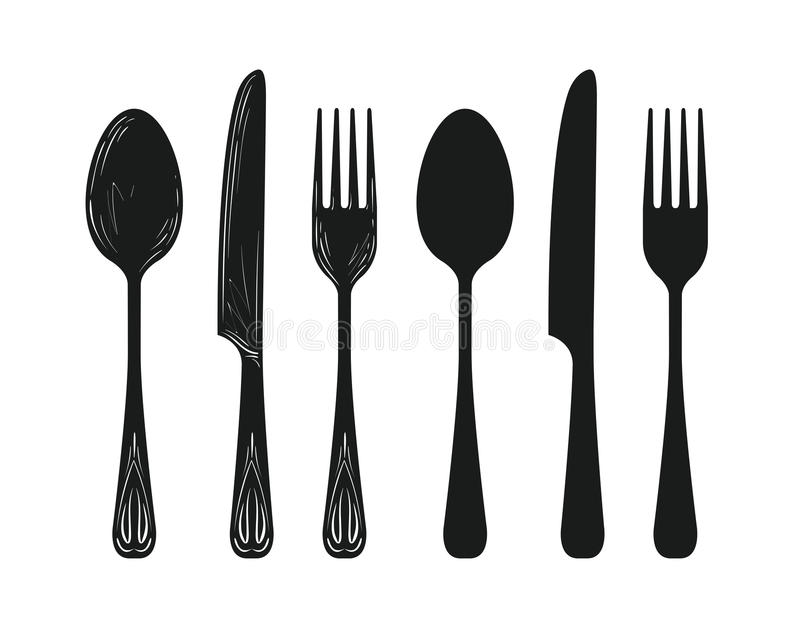 Tableware such as spoon, knife, fork silhouette. Kitchen, cuisine, cooking icon or symbol. Sketch vector illustration isolated on white background stock illustration