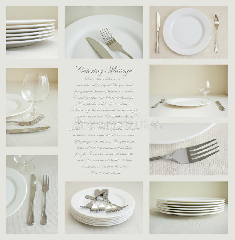 Tableware with white dishes stock photos