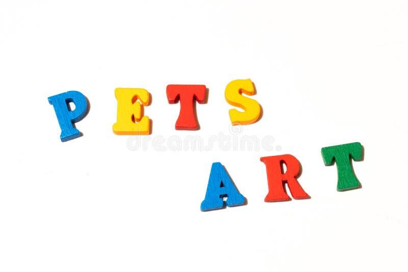 Tablica literowa Word Pets Art na białym tle Płaska warstwa do ilustracji fotografia royalty free