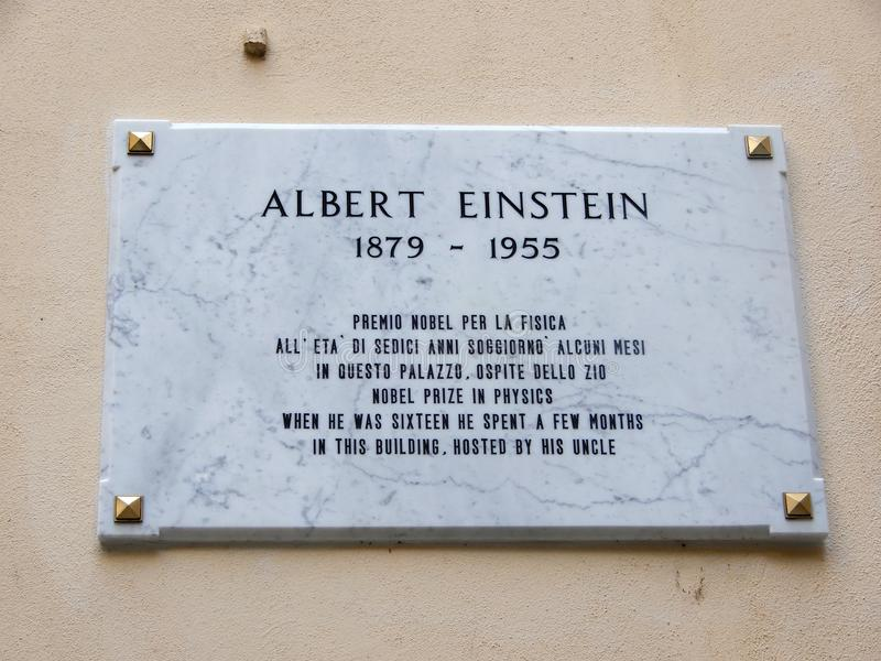 Tablica rejestracyjna Albert Einstein, nagroda nobla w physics Gdy był szesnaście hhe wydawał few góra obraz stock