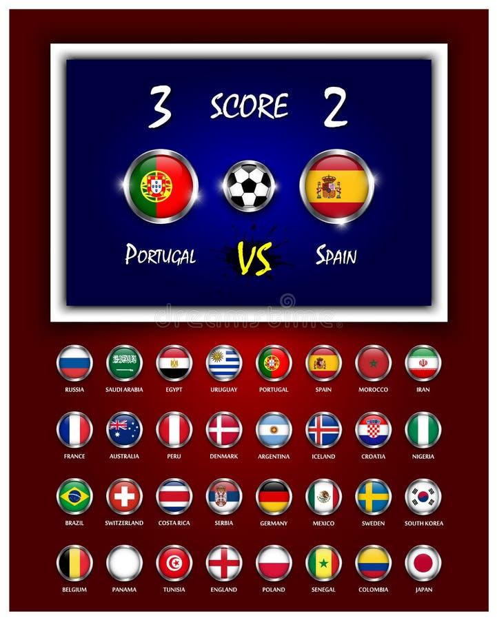 Tablica wyników futbolowego dopasowania, okręgu projekta flaga państowowa z metal ramą na koloru gradientu tle i wektor royalty ilustracja