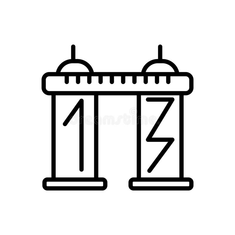 Tablica wyników ikony wektor odizolowywający na białym tła, tablica wyników znaka, kreskowego lub liniowego znaku, elementu proje royalty ilustracja