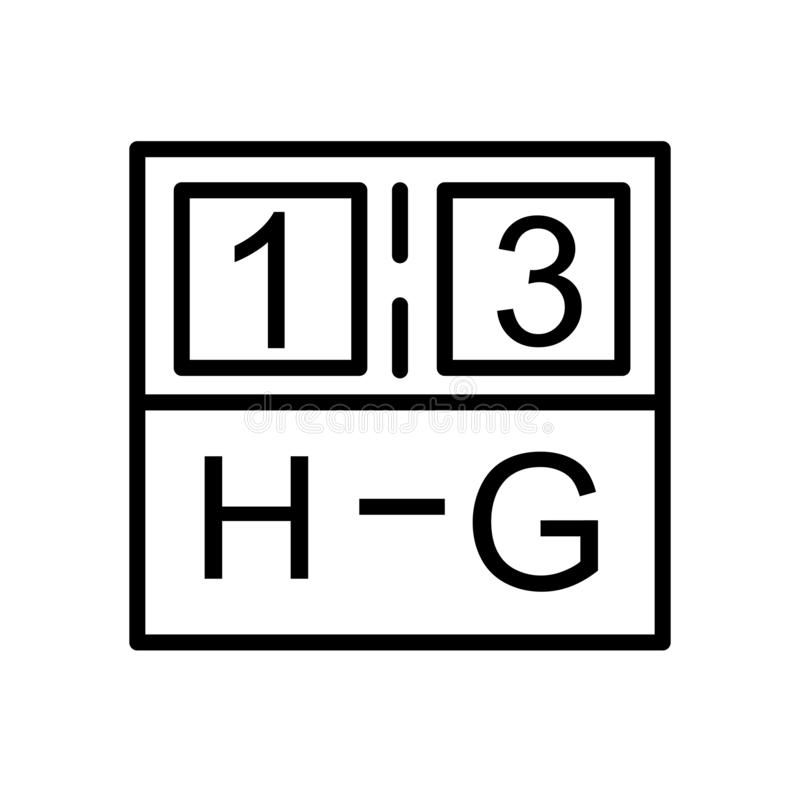 Tablica wyników ikony wektor odizolowywający na białym tle, tablica wyników znak, liniowy symbol i uderzenie projekta elementy w  ilustracji
