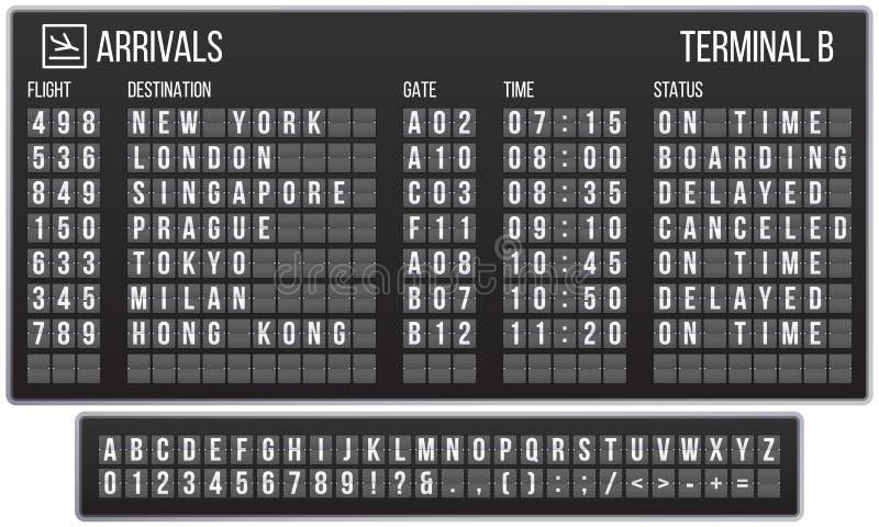 Tablica wyników trzepnięcia chrzcielnica Przyjazdowi lotniskowi znaki wsiadają, linia kolejowa przyjazdy i odjazdów tablica wynik ilustracji