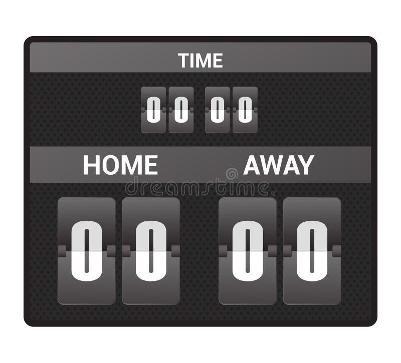 Tablica wyników wynika deski cyfrowego pokazu piłki nożnej sporta drużyny dopasowania wektorowa futbolowa rywalizacja na stadium  ilustracji