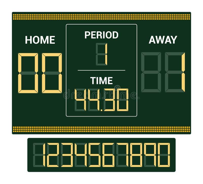 Tablica wyników wynika deski cyfrowego pokazu piłki nożnej sporta drużyny dopasowania wektorowa futbolowa rywalizacja na stadium  ilustracja wektor
